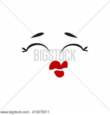Cartoon Face, Kissing Vector Emoji With Closed Eye And Red Lips Prepare For Kiss. Fall In Love Funny