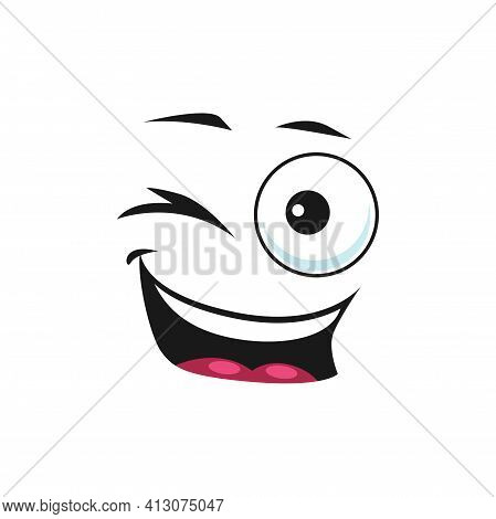 Cartoon Smiling Face, Vector Emoji With Wink Eye And Smile Mouth. Happy Facial Expression, Flirting,