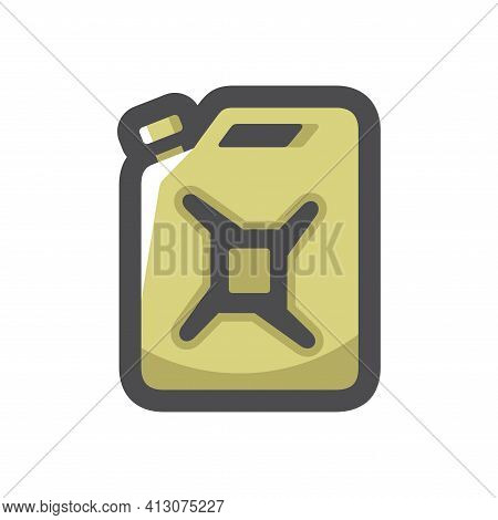 Jerrycan Fuel Container Gasoline Canister Vector Icon Cartoon Illustration