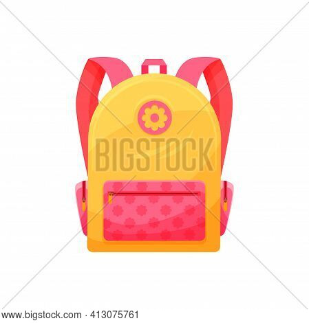 Kids Schoolbag Isolated Vector Icon, Cute Cartoon Rucksack, Pink And Yellow Baby Backpack For Girl W