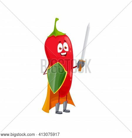 Cartoon Chili Pepper Super Hero Isolated Vector Icon Funny Vegetable, Fairytale Knight Character In