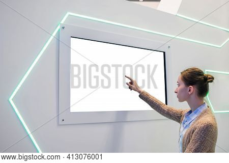 White Screen, Mock Up, Future, Copyspace, Template, Technology Concept. Woman Touching Blank Digital