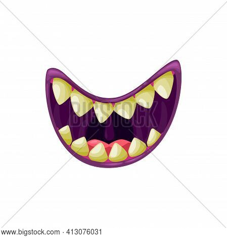 Monster Mouth Smiling Vector Icon, Creepy Jaws Smile With Sharp Yellow Teeth. Cartoon Smiling Hallow