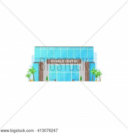 Fitness Center Isolated City Architecture Building Facade Exterior. Vector Urban Modern Construction
