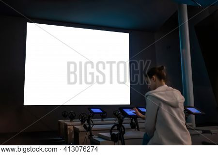 White Screen, Scifi, Technology, Futuristic, Template, Mock Up, Entertainment Concept. Woman Looking