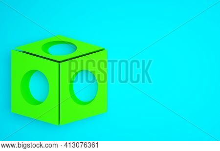Green Billiard Chalk Icon Isolated On Blue Background. Chalk Block For Billiard Cue. Minimalism Conc