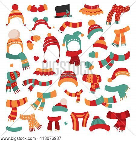 Hats And Scarves A Collection Of Funny Hats And Scarves. Eps 10 Vector Grouped For Easy Editing.