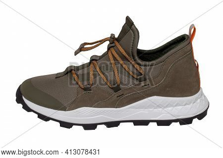 Mans Sport Shoes. Close-up Of A Single Of Brown Sneaker Or Sport Shoe Isolated On A White Background