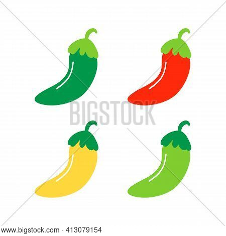 Set, Collection Of Mexican Colorful Chili Peppers Vector Icons Isolated On White Background.