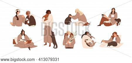 Set Of Women With Cute Cats. Female Pet Owners With Animals At Home. Scenes With Happy People And Fu