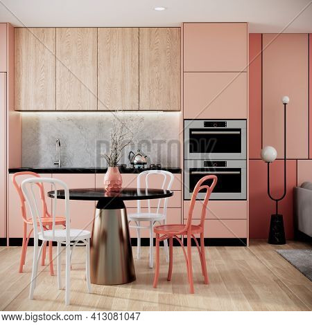 Mock Up Modern Interior Background, Peach Dining Room With Chair And Dining Table, Minimal Style, 3d