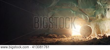 Christian Easter Concept. Jesus Christ Resurrection. Empty Tomb Of Jesus With Light. Born To Die, Bo