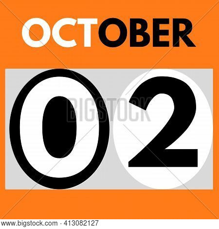 October 2 . Modern Daily Calendar Icon .date ,day, Month .calendar For The Month Of October