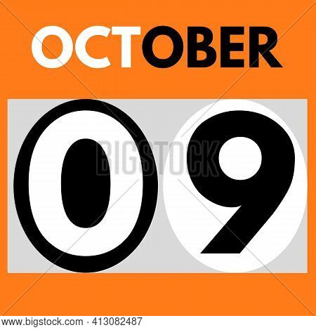October 9 . Modern Daily Calendar Icon .date ,day, Month .calendar For The Month Of October