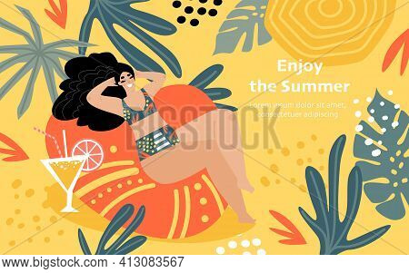 Enjoy Summer Concept With Funny Girl Sunbathing. Banner With A Young Woman In A Swimsuit. Vector Ill
