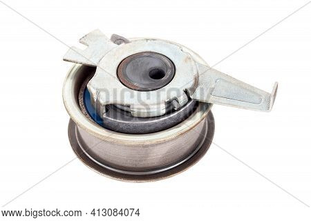 Defective Used Car Timing Belt Tensioner On White Background, Isolate. Close-up