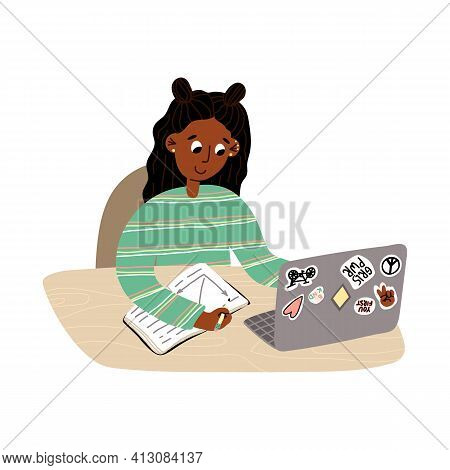The Student Or Pupil Girl Studies Online And Doing Her Homework. Online Education, Tutoring, Working