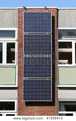 Solar photovoltaic panels on wall