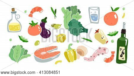 Mediterranean Kitchen Set. Adriatic Food And Cuisine. Healthy Mediterranean Diet. Long Life Diet. Ve