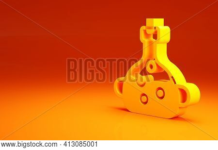 Yellow Poison In Bottle Icon Isolated On Orange Background. Bottle Of Poison Or Poisonous Chemical T