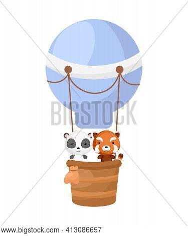 Cute Little Red Panda, Panda Fly On Blue Hot Air Balloon. Cartoon Character For Childrens Book, Albu