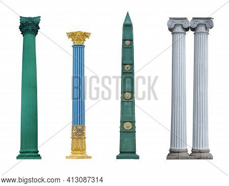 Marble, Bronze And Glass Columns Isolated On A White Background