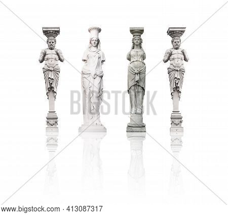 Set Of Marble Columns (atlanteans And Caryatids) Isolated On A White Background