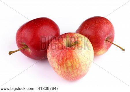 Apples Gala Grade Red White Background Useful Fruit