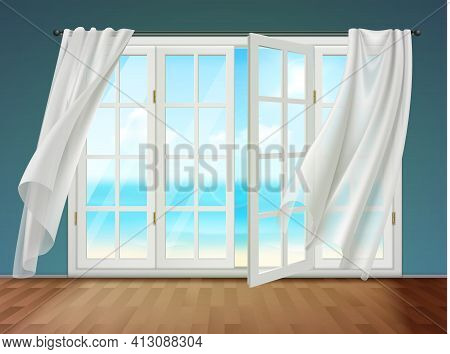 Room With View On Sea From Open Window And Fluttering Curtains Hanging On Cornice 3d Vector Illustra