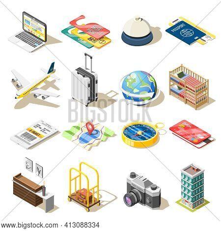 Travel Isometric Icons Set Of Airplane Tickets Compass Camera Travel Hotel Reception Passport Isolat