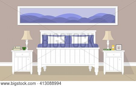 Bedroom With White Double Bed, Night Tables, Long Picture, Lamps And Other Complements. Beige Bedroo