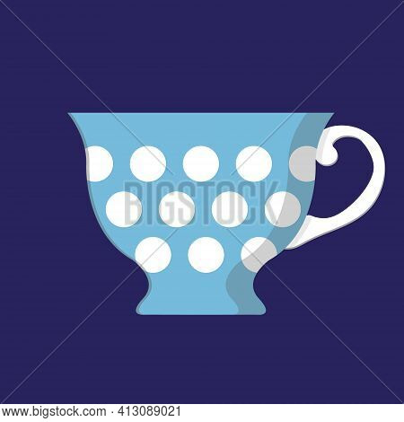 Blue Spotted Porcelain Cup. Classic Teacup. Isolated Flat Vector Illustration.