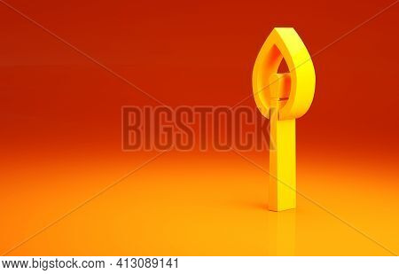 Yellow Burning Match With Fire Icon Isolated On Orange Background. Match With Fire. Matches Sign. Mi