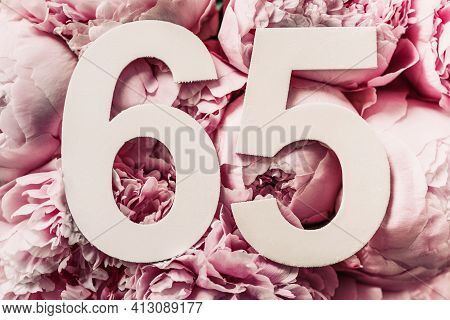 Peony Flowers, Digit Sixty-five. Birthday Greeting Card With Inscription 65. Anniversary Concept. To