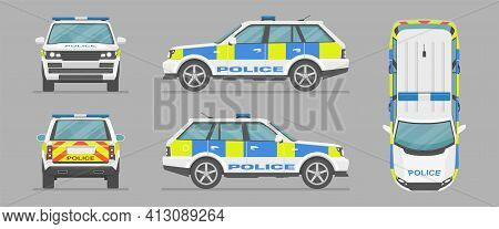 English Police Car. Cartoon Flat Illustration, Auto For Graphic And Web Design. Vector Suv Car From