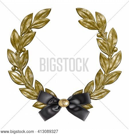 Golden Frame With Black Mourning Bow For Paintings, Mirrors Or Photo Isolated On White Background. D