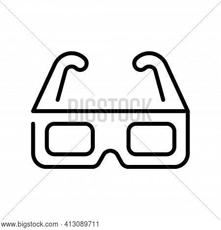 Outline Simple 3d Glasses Icon Vector Monochrome Linear Cinematography Logo
