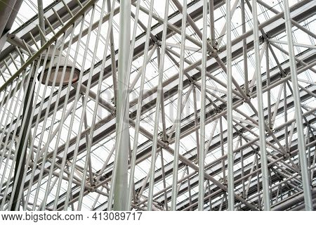 Structure Of Metal Structure Complex Prefabricated Ceiling Made Of Steel Beams And Crossbars. Concep