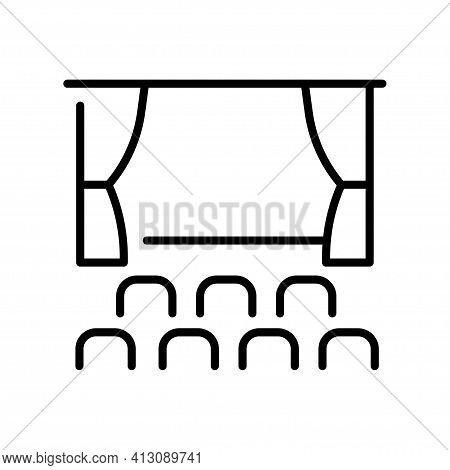 Outline Cinema Hall Monochrome Simple Icon Vector Cinematography Auditorium With Stage Seat Chair