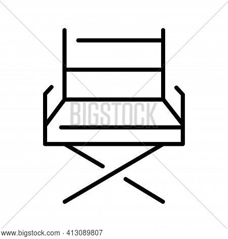 Monochrome Movie Director Folding Chair Icon Vector Seat Place Filmmaker Movie Production