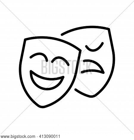 Happy And Unhappy Theatrical Mask Icon Vector Comedy Tragedy Teatral Action Logo Of Theatre Drama
