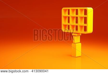 Yellow Barbecue Steel Grid Icon Isolated On Orange Background. Top View Of Bbq Grill. Wire Rack For