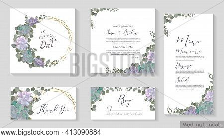 Floral Design For Wedding Invitations. Succulents, Eucalyptus, Dense Greenery, Green Plants And Leav