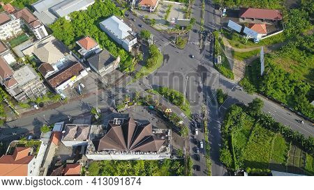 Kuta, Bali, Indonesia, March 15, 2021. Aerial View To Road Congestion In Front Of Street Crossing, A