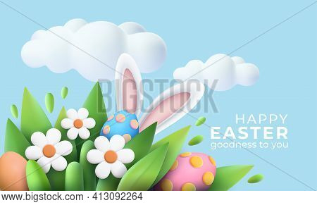 3d Trendy Realistic Easter Greeting Card, Banner With Flowers, Easter Eggs And Clouds. Spring Floral