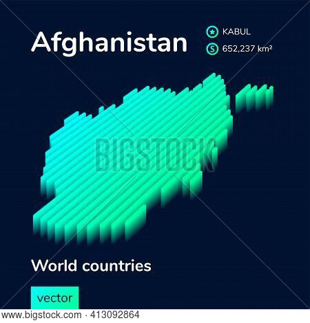Stylized Striped Isometric Neon Vector Map Of Afghanistan With 3d Effect. Map Of Afghanistan Is In G