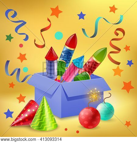 Fireworks Composition Of Realistic Gift Box Filled With Firecrackers Confetti Sparkler Balls And Par