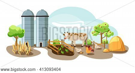 Farm In The Countryside, Rustic Landscape. Wheat, Sheaf, Vegetable Garden, Cow, Chickens And Eggs. V