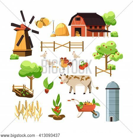 Vector Cartoon Style Farmers Set. Red Barn, Animals, Fruit Trees, Sheaf, Cart, Mill. Isolated On Whi