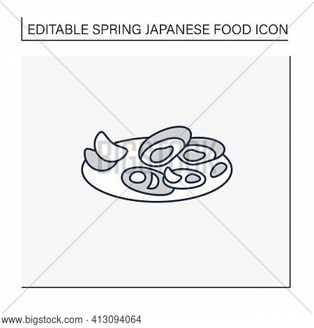 Asari Clams Line Icon.fried In Butter Clams On Plate. Traditional Dish.spring Japanese Food Concept.